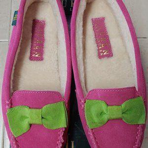NIB Ralph Lauren Driving Moccasins Pink/Green 5B